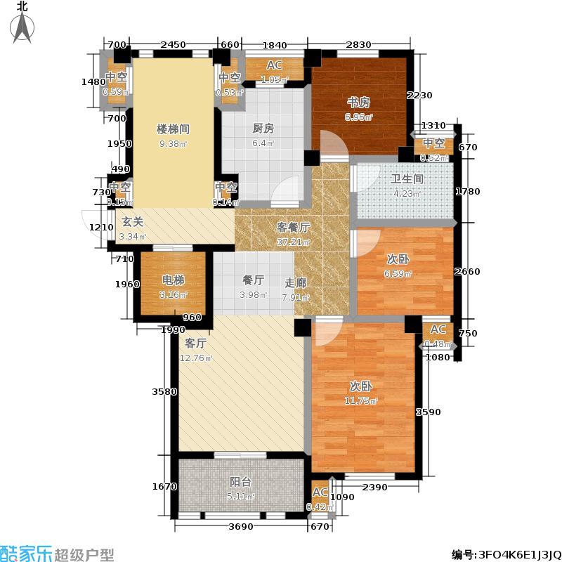 恒威君和院100.00㎡B户型3室2厅1卫
