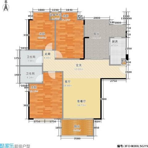 南港名轩3室1厅2卫1厨129.00㎡户型图