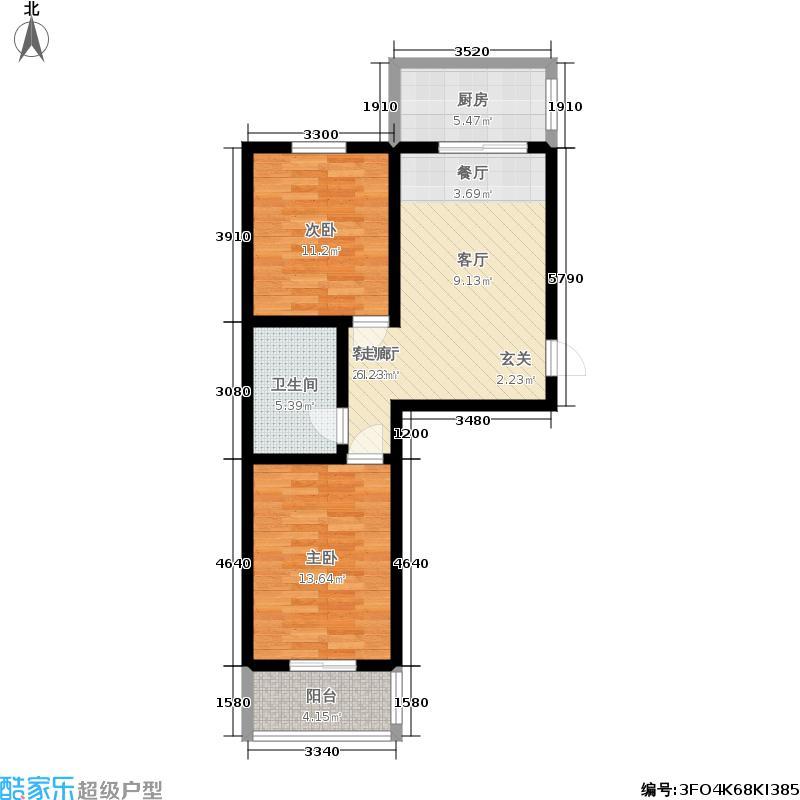 易居时代77.60㎡两室一厅一卫户型2室1厅1卫
