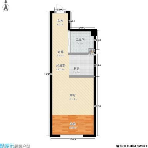 世元国际公寓1卫0厨54.74㎡户型图