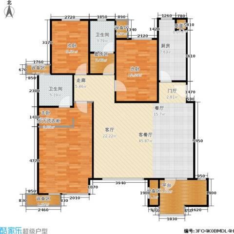 万科・深蓝3室1厅2卫1厨164.00㎡户型图