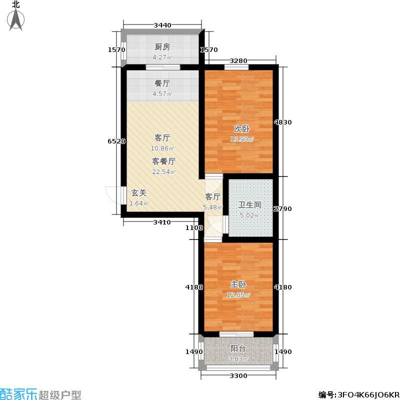 易居时代79.91㎡两室一厅一卫户型2室1厅1卫