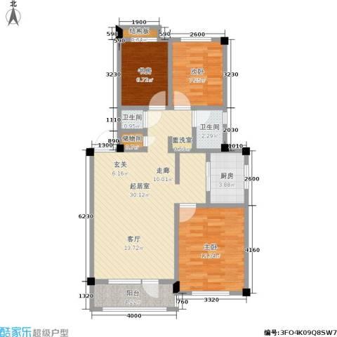 凤凰山花园3室0厅2卫1厨81.00㎡户型图