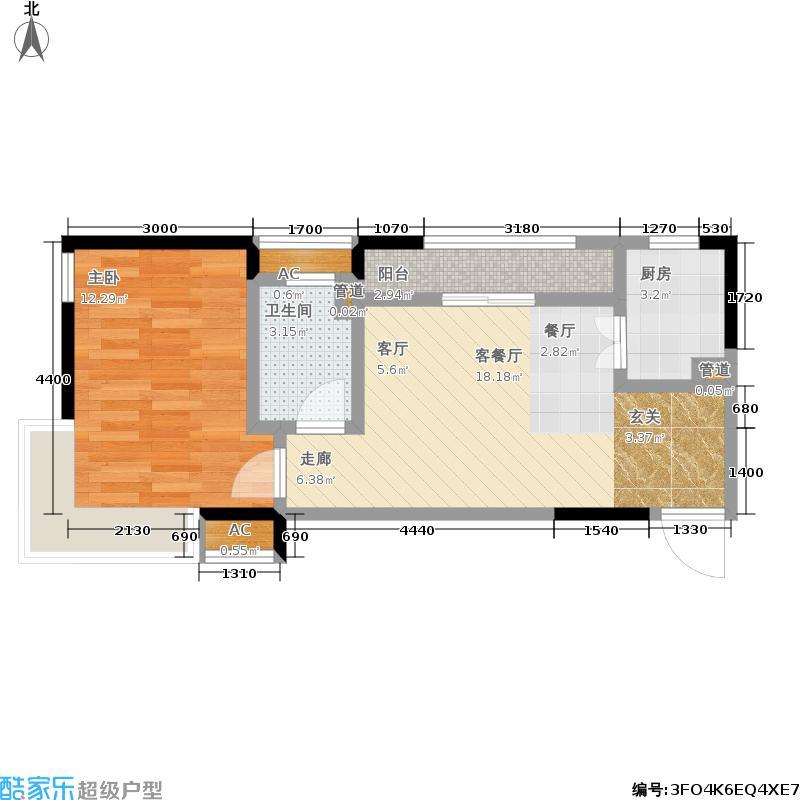 华润橡树湾60.00㎡二期洋房标准层A户型1室1厅1卫