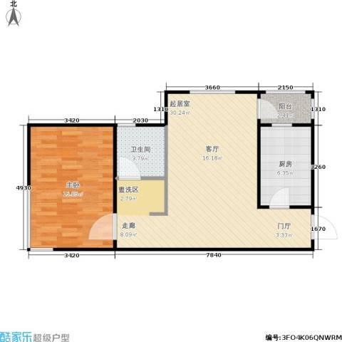 荷塘悦色1室0厅1卫1厨62.00㎡户型图