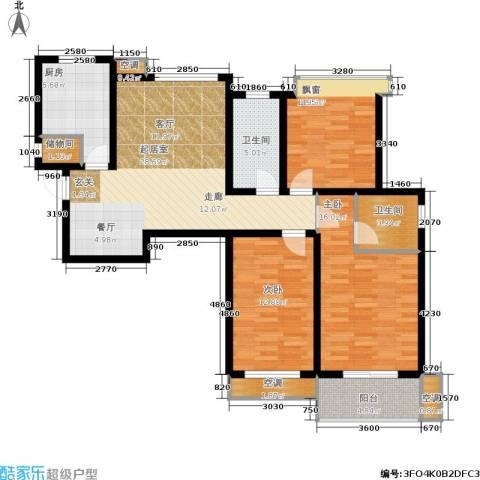 中齐未来城3室0厅2卫1厨128.00㎡户型图