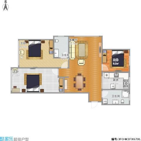 东发现代城3室1厅2卫1厨116.00㎡户型图