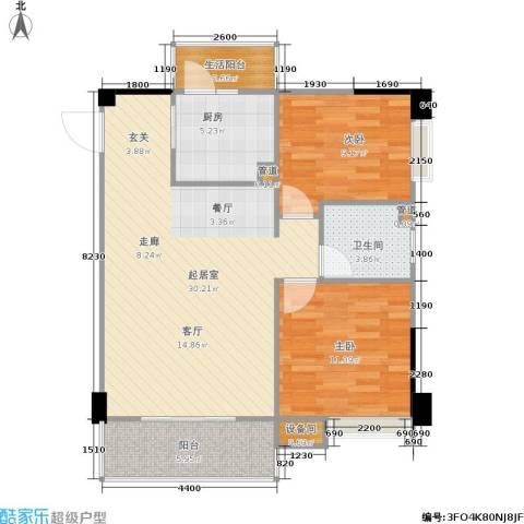 南峰时代广场2室0厅1卫1厨94.00㎡户型图
