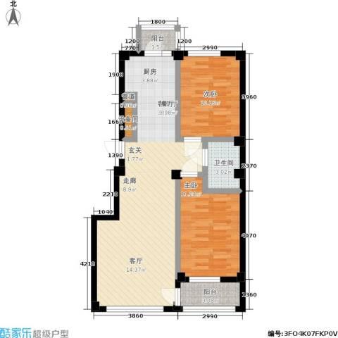 中瀛臻堡2室1厅1卫0厨73.57㎡户型图