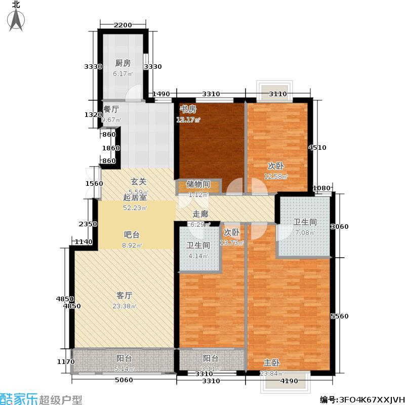 银丰花园11、12号楼E3户型4室2卫1厨