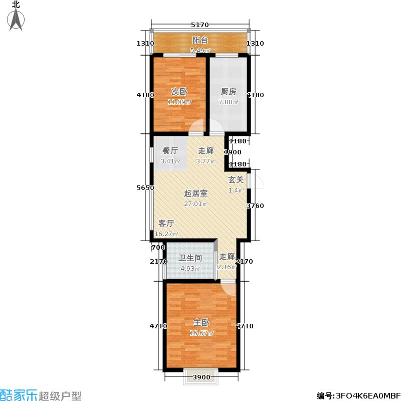 龙凤花园一期89.44㎡5号楼C户型 两室两厅一卫户型2室2厅1卫