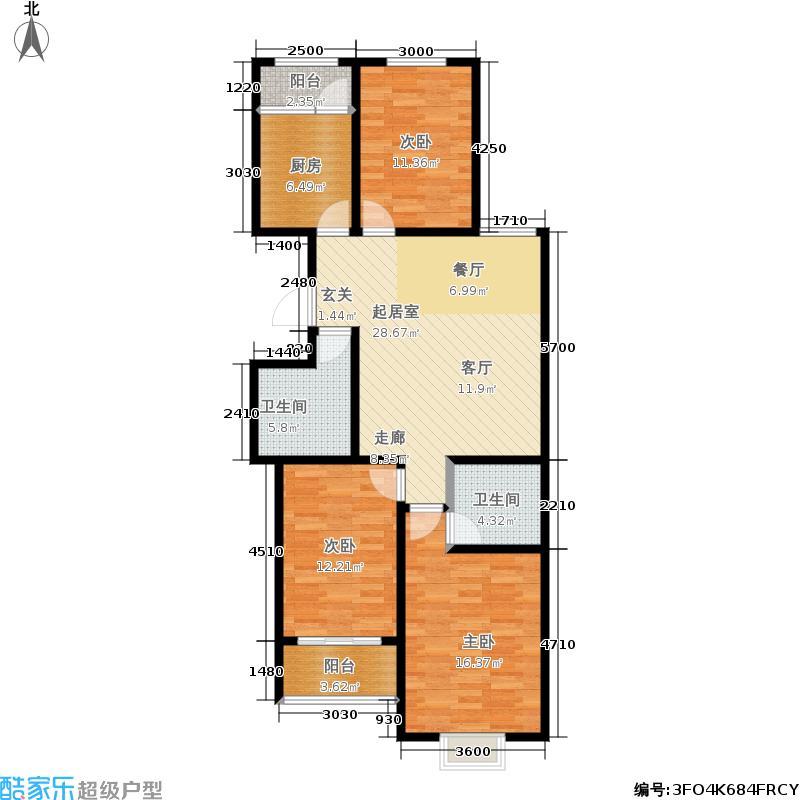 龙凤花园一期120.20㎡5号楼A户型 三室两厅两卫户型3室2厅2卫