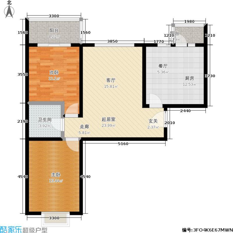 龙凤花园一期91.42㎡5号楼D户型 两室两厅一卫户型2室2厅1卫