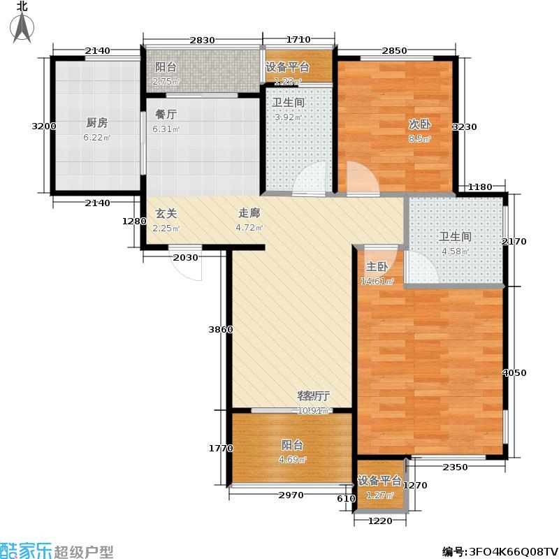 重汽翡翠清河96.00㎡H8-3 两室两厅两卫户型2室2厅2卫
