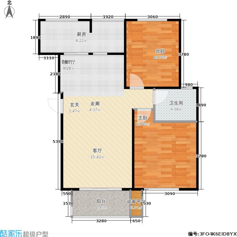 重汽翡翠清河86.68㎡西区1号楼 两室两厅一卫户型2室2厅1卫