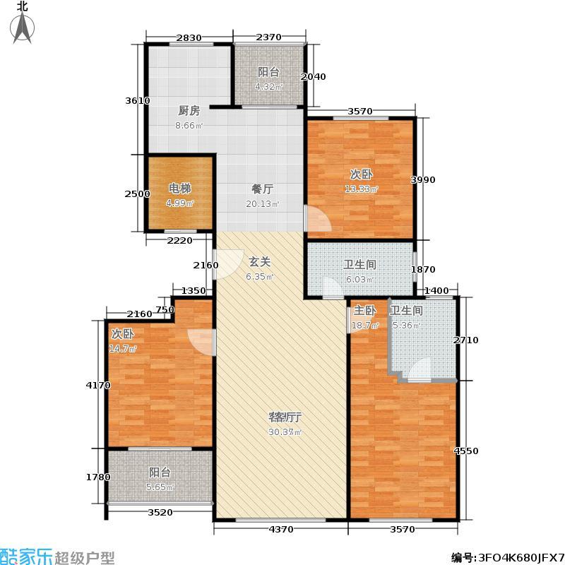 九英里颢苑224.00㎡F户 型三室两厅两卫 224㎡户型2室2厅2卫