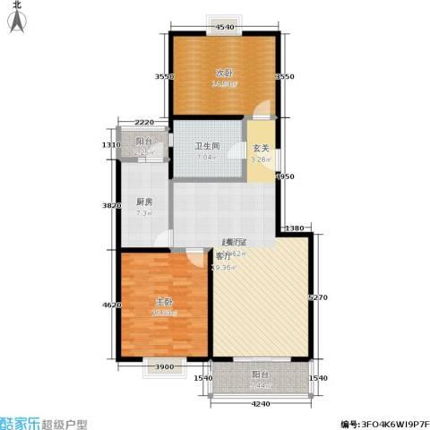 海普苑2室0厅1卫1厨98.00㎡户型图