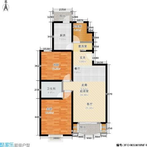 海普苑2室0厅2卫1厨98.00㎡户型图
