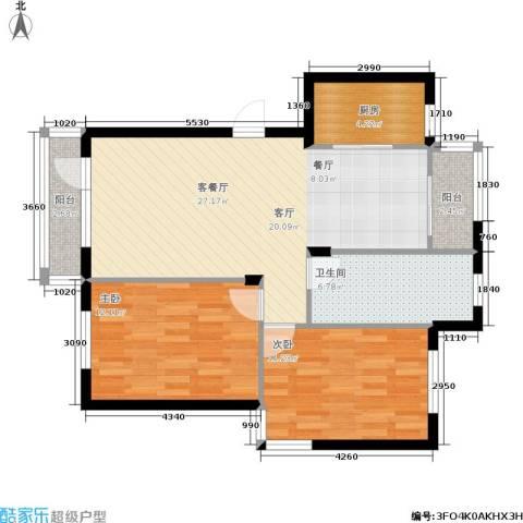 新港假日2室1厅1卫1厨94.00㎡户型图
