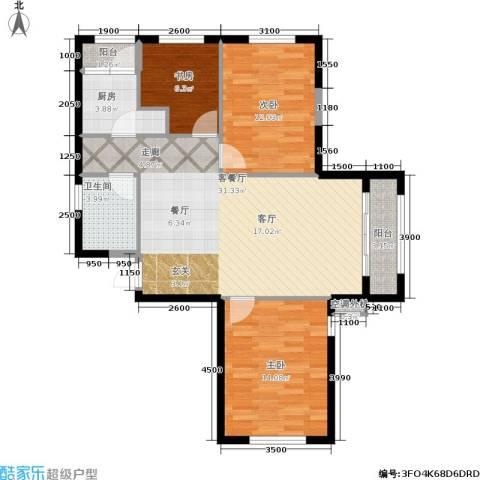 华邦俪城3室1厅1卫1厨86.10㎡户型图