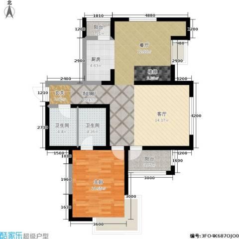 华邦俪城1室1厅2卫0厨85.01㎡户型图