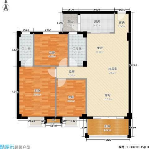威斯广场3室0厅2卫1厨119.00㎡户型图