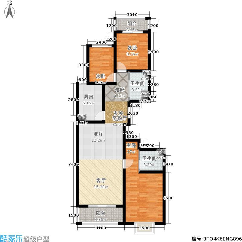 东唐花园130.67㎡A4户型3室2厅2卫