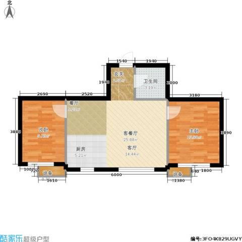 新港假日2室1厅1卫0厨71.00㎡户型图