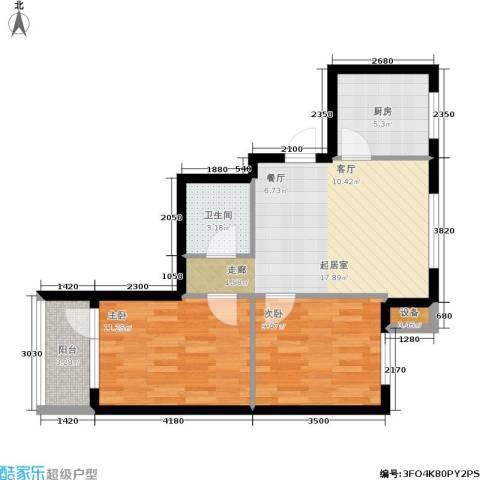新港假日2室0厅1卫1厨73.00㎡户型图