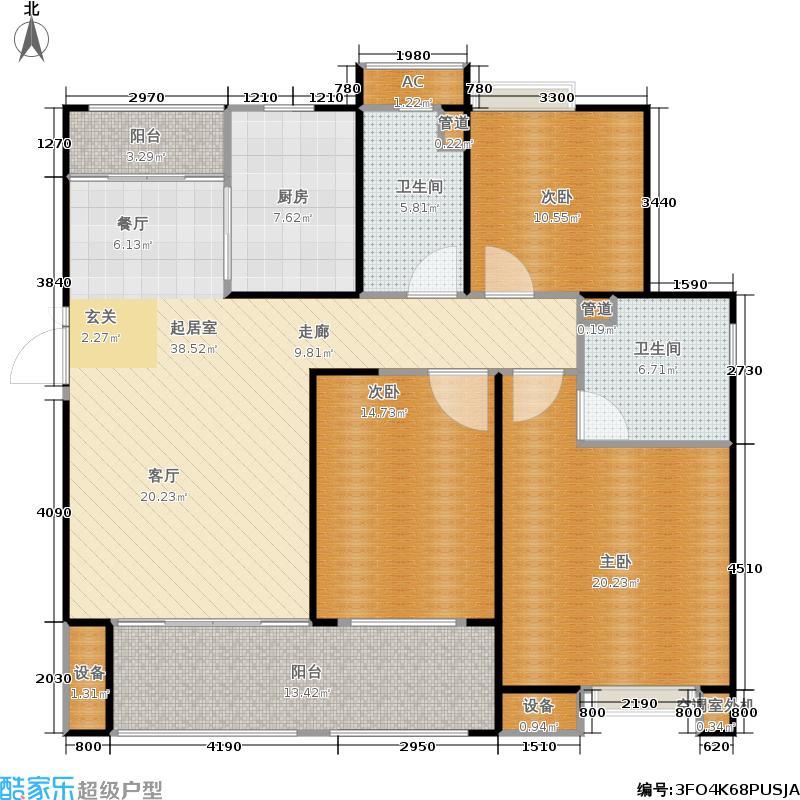 悦府・保利海德公馆三期135.00㎡三室两厅两卫户型3室2厅2卫