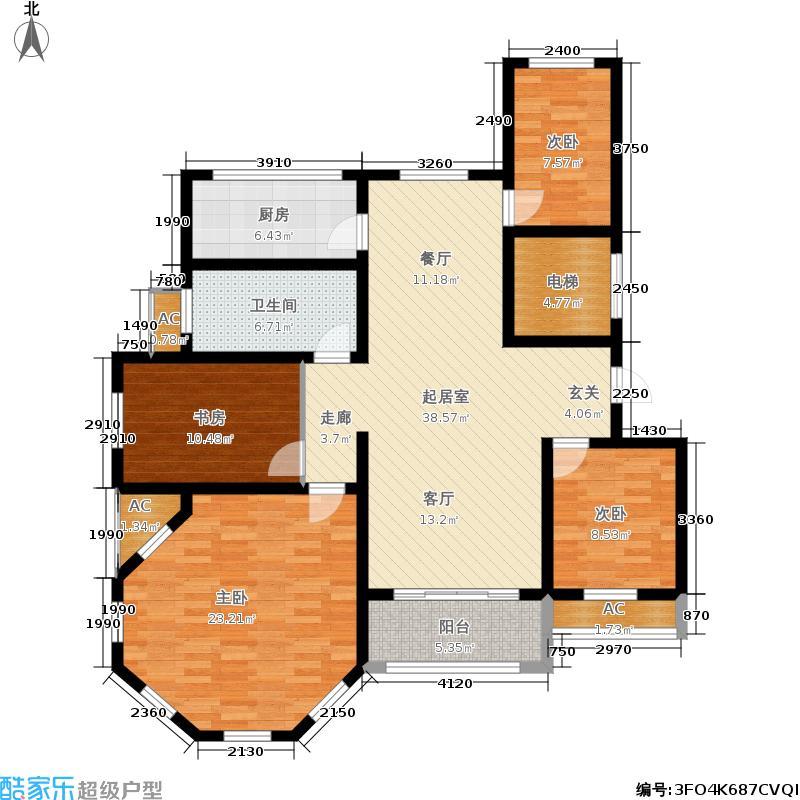 明基铂宫133.30㎡四室两厅一卫户型4室2厅1卫