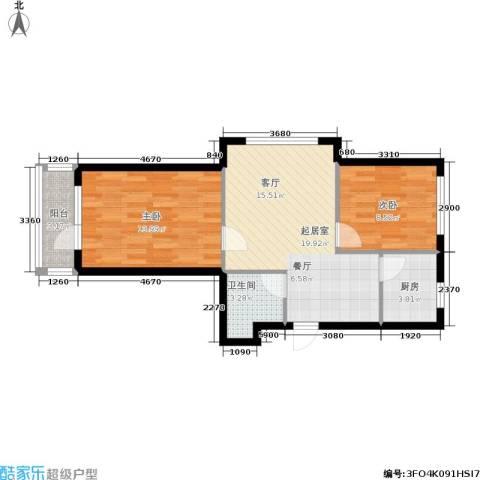 新港假日2室0厅1卫1厨75.00㎡户型图