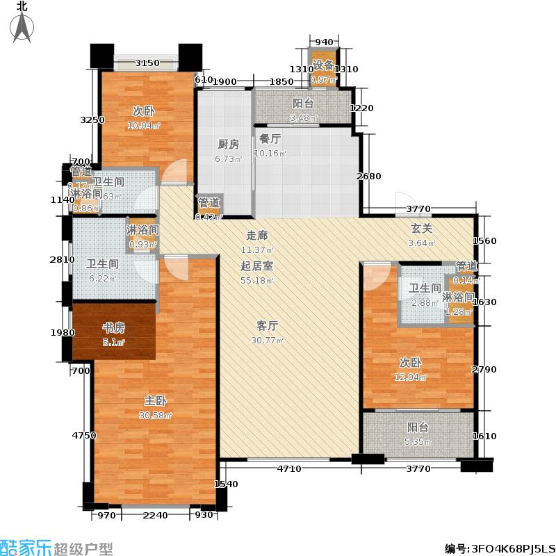 悦府・保利海德公馆三期203.51㎡四室两厅两卫B1户型图户型4室2厅2卫