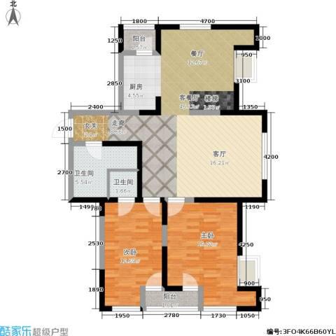 华邦俪城2室1厅2卫0厨98.02㎡户型图