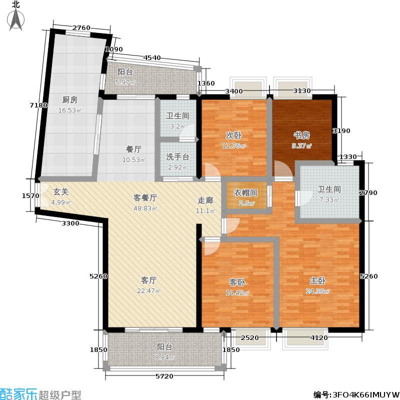 虹桥华庭179.00㎡房型: 三房; 面积段: 179 -205 平方米; 户型