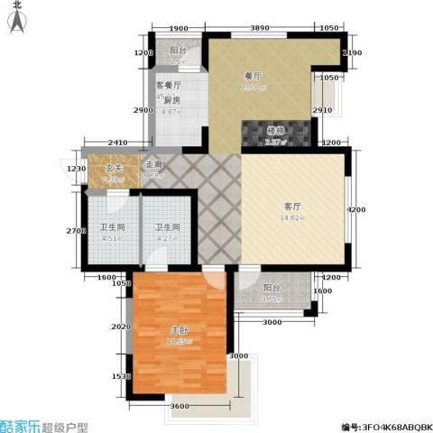 华邦俪城1室1厅2卫0厨85.84㎡户型图