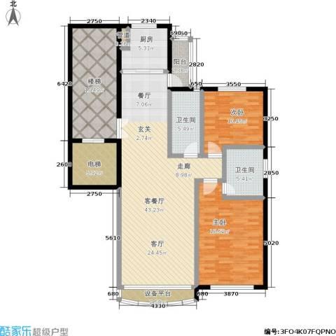 尊尚海的GOLF2室1厅2卫1厨133.00㎡户型图