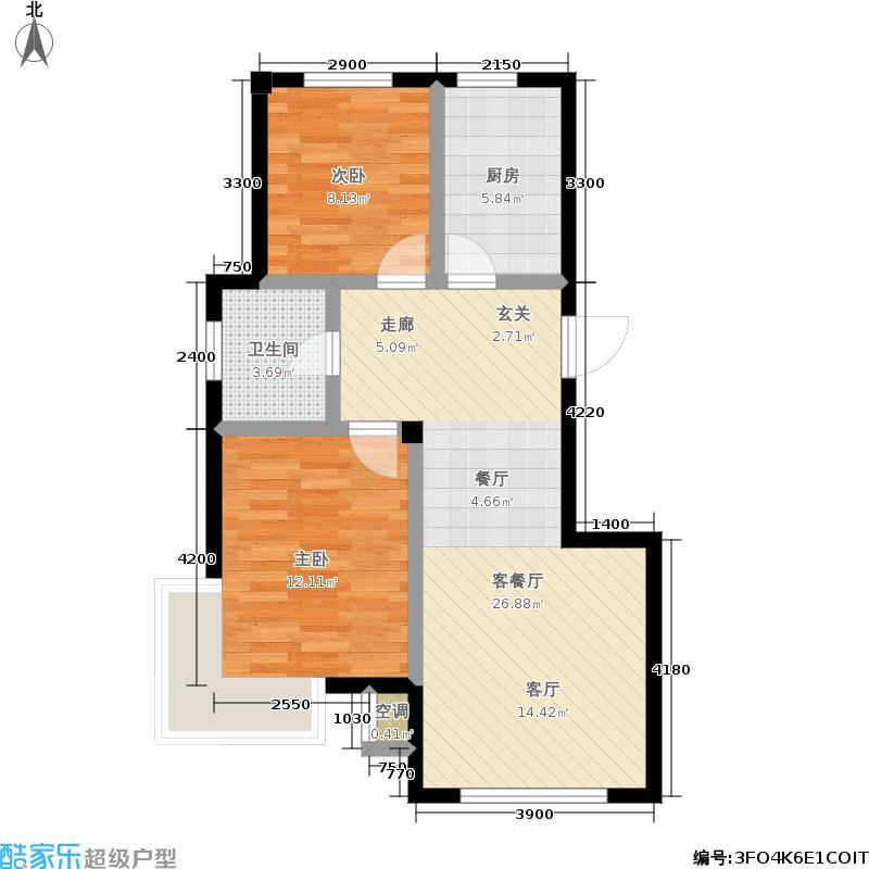 福佳新城85.29㎡板式高层B户型 2室2厅1卫户型