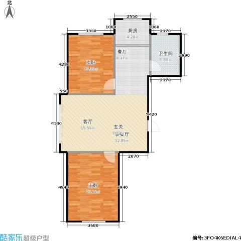 汇益华庭2室1厅1卫1厨80.00㎡户型图