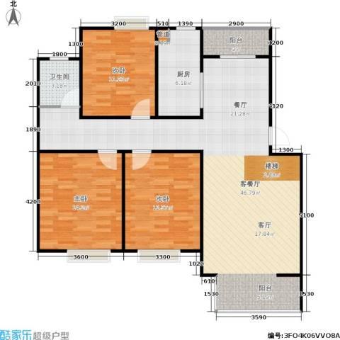 华侨绿洲3室1厅1卫1厨103.00㎡户型图