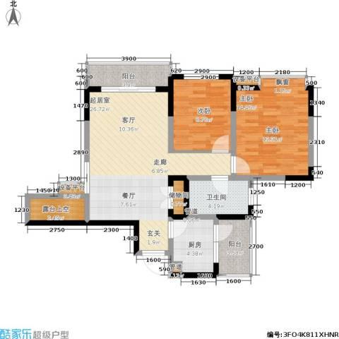 上海城二期2室0厅1卫1厨103.00㎡户型图
