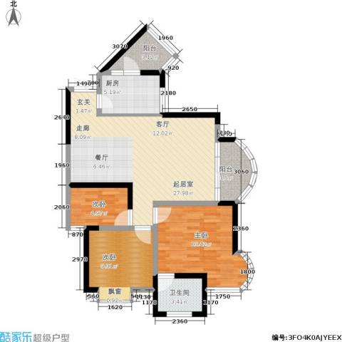 天工太阳岛3室0厅1卫1厨103.00㎡户型图