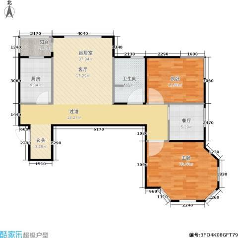 荷塘悦色2室1厅1卫1厨88.00㎡户型图