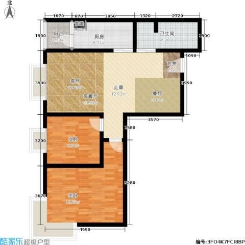 橄榄湾2室1厅1卫1厨87.00㎡户型图