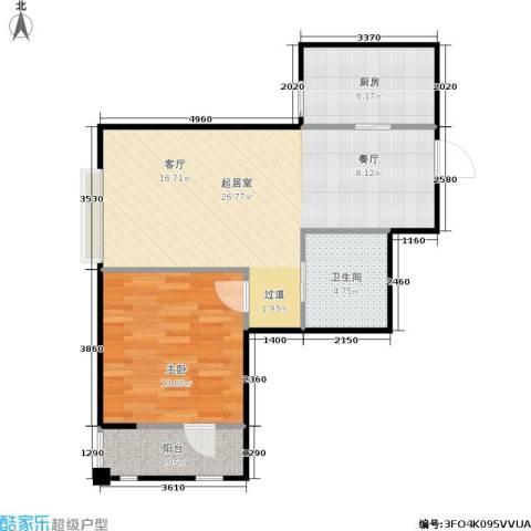 荷塘悦色1室0厅1卫1厨59.00㎡户型图