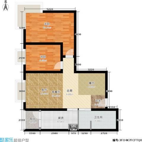 橄榄湾2室1厅1卫1厨86.00㎡户型图
