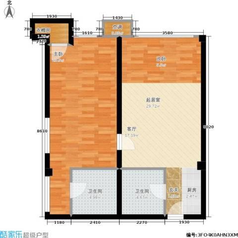 中齐未来城1室0厅2卫0厨91.00㎡户型图