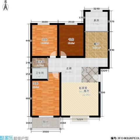 幸福家园3室0厅1卫1厨165.00㎡户型图