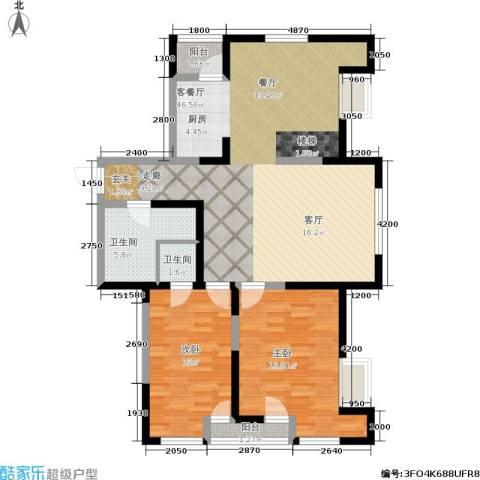 华邦俪城2室1厅2卫0厨98.80㎡户型图