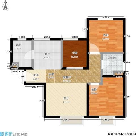 华润橡树湾3室1厅1卫1厨90.00㎡户型图